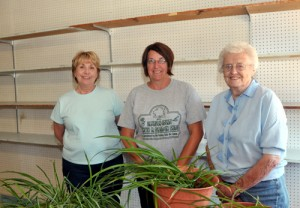Joyce Brown, Jeri Clark, and Barbara Tosh stand in what was an empty room with empty shelves. It is their intention to fill the shelves with food for needy people and start operating a food pantry starting May 30.