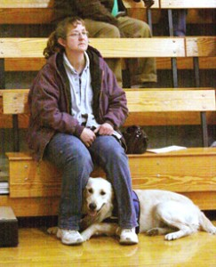 Kirsti Petesch with Spence at a basketball game.