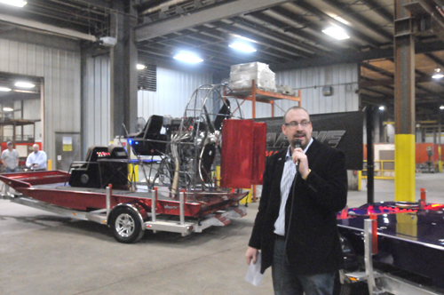 Neal Spencer introduces the DynaMarine airboat that Ernest-Spencer Metals will begin to produce as their own product line.