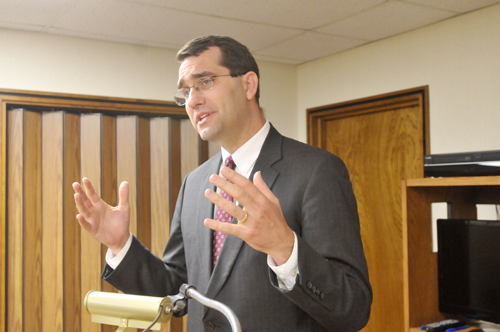 Attorney General Derek Schmidt paid a visit to the Valley Falls Rotary Club Thursday informing them about the Consumer Protection Division of his office. Photo by Clarke Davis