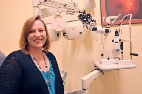 Dr. Jeannette Holland at the Holland Eye Clinic in Oskaloosa where she has practiced since 1996. Photo by Clarke Davis