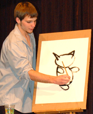 Tanner Bohannan explains how to draw a cat for his talent.