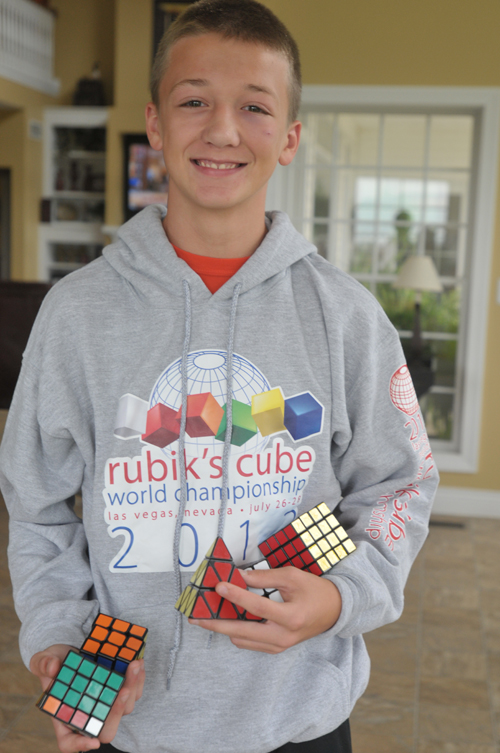 Photos by Holly Davis Nathan Pickerell, 13, Valley Falls, has mastered the Rubik's Cube with a record of solving one in 13 seconds. People often joke with him saying that it took them 13 years to finally solve it— even if it was by taking the stickers off.