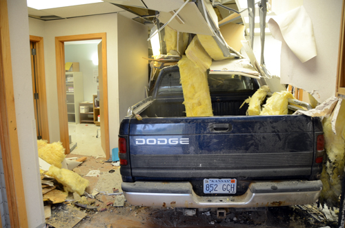 The Dodge pickup came to rest inside an exam room in the Cotton O'Neil Clinic next to where nurses draw blood samples.  Photos by Clarke Davis