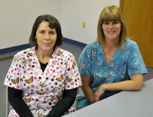 Kathy Smith and Lori Robinson serve as the home health aides for the Jefferson County Home Health and Hospice program. November is National Hospice and Palliative Care Month. Photo by Jared Speckman