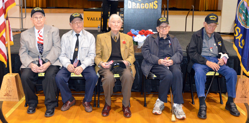 World War II veterans given special recognition Monday during the Veterans Day observance were, from left, Frank Shrimplin, Ted Montgomery, Gordon Lowry, Clifford Lobb, and Daryl Ford. Photo by Clarke Davis