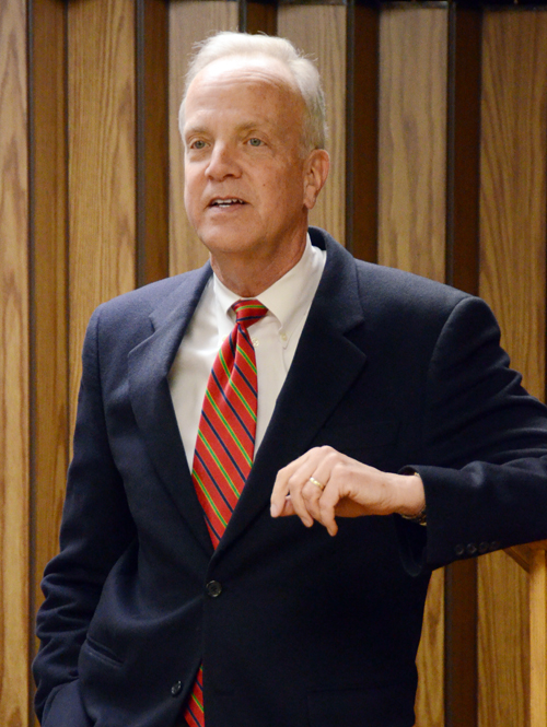 Sen. Jerry Moran was greeted by about 35 people Friday who gathered at the Kendall State Bank's community room. Photo by Clarke Davis