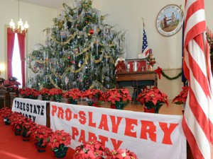 One large, decorated live tree is located in the upstairs chapel where the Free State and Pro-Slave arguments are still heard. It was here that President Ike Eisenhower's parents, David Eisenhower and Ida Stover, were married Sept. 23, 1885.