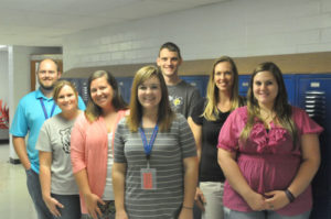 Photo by Rick Nichols  Pictured here are the newest additions to the combined faculty of Oskaloosa Junior-Senior High School and Oskaloosa Elementary School. From left to right are Steve Maltby, Trisha Boyd, Caitlin Terry, Jordan Gray, Spencer Wilson, Lara Wallace and Molly Newman.
